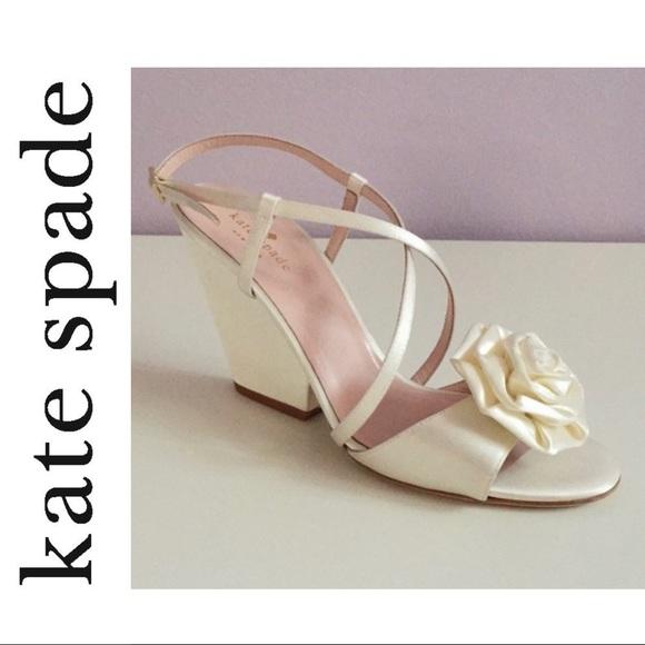 KATE SPADE~White Satin IMARI Rose Sandals~10~NIB